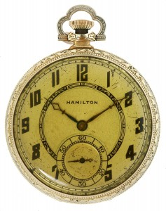 """This is the watch John H. Dillinger had on him when he was killed in Chicago on July 22, 1934"" is the beginning of the ink script note written by Frances Helen Dillinger that accompanies this size 12, grade 912, 17 jewel Hamilton pocket watch with gold filled case."