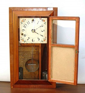 A rare alarm timepiece made by Silas Hoadley, 21-½ inches in height.