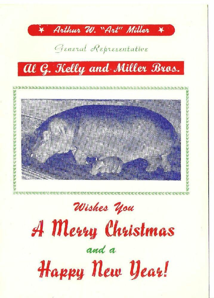 The inside of the Al G. Kelly & Miller Bros. Circus card.