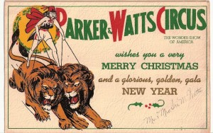 A card from the short-lived Parker & Watts Circus, 1938-39.