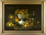 This still life on canvas by Paul Lecroix (NJ/NY, 1827-1869), in likely original gilt wood frame, brought $21,850.