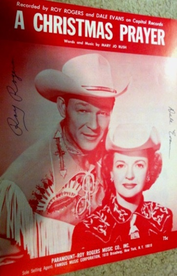 "Autographed sheet music for Roy Rogers and Dale Evans ""A Christmas Prayer,"" published in 1967."