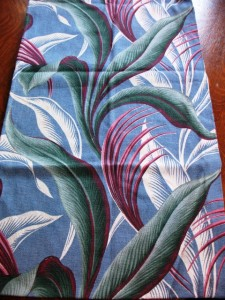 This bold, bright tropical print is typical of barkcloth.