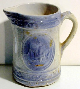 A blue and white pitcher such as this one was sold as utility ware for domestic use and, therefore, seldom marked.