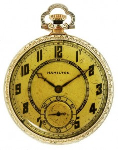 The Art Deco Hamilton watch carried by John Dillinger when he was gunned down by the FBI outside the Biograph Theater in Chicago.