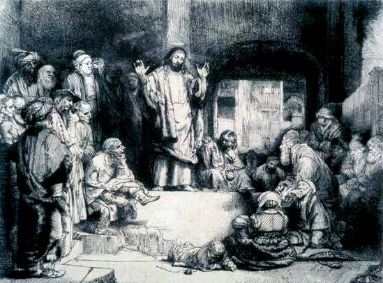 "This etching titled ""Christ Preaching"" is a powerful image. Originally completed by Rembrandt in 1652, it is a grand example of the engraver's art, but just one of many of Rembrandt's work reproduced over the years."