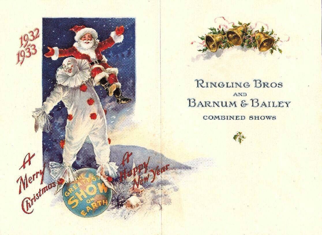 The inside of the 1932 Christmas card from Ringling Bros. and Barnum & Bailey.