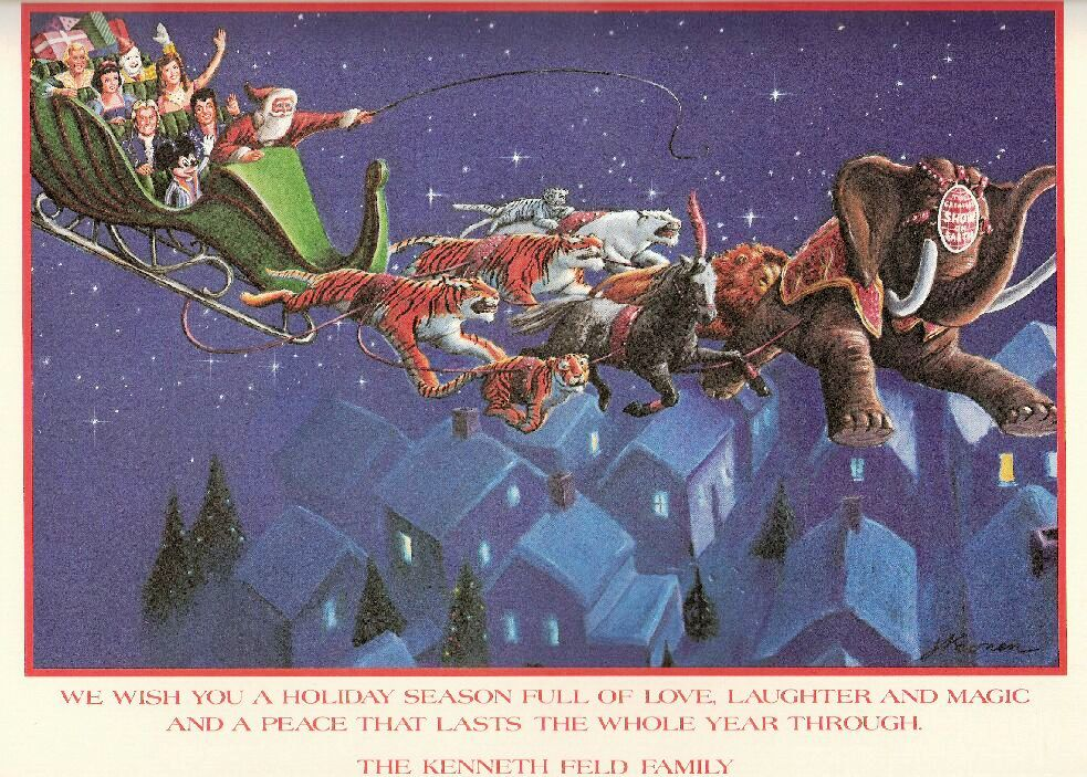 The inside has Santa's sleigh being pulled by circus animals with a Ringling elephant leading the way.