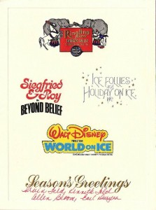 The 1980 Ringling Bros. and Barnum card that also features the logos of the Ice Follies and Holiday on Ice, Disney On Ice and the Siegfried & Roy magic show.