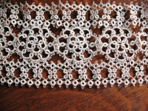 Close-up of the tatting on the bodice.