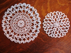 Two simple tatted doilies.