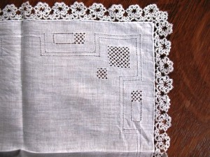Another early handkerchief with a tatted edge.