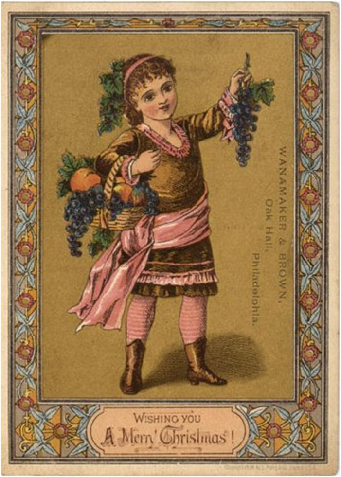A vintage Christmas card by Wanamaker & Brown of Philidelphia.