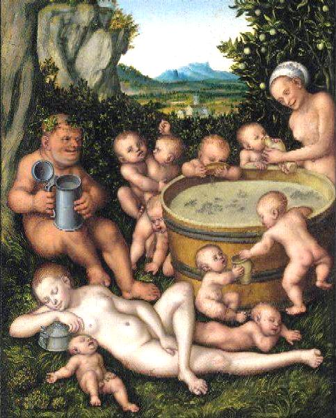 "Bacchus at the Wine Vat"" by Cranach."