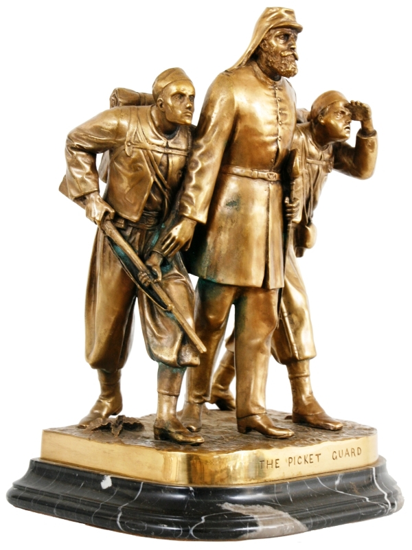 "A bronze grouping after John Rogers, titled ""The Picket Guards,"" is expected to sell for between $10,000 and $15,000 in the Jan. 16, 2010 vintage firearms, Civil War and militaria auction, hosted by Fontaine's Auction Gallery."