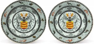 A pair of Dutch market semi-eggshell porcelain soup plates, circa 1734.
