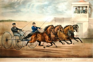 """Currier & Ives' """"Ethan Allen and Mate Crossing the Score: A Dead Heat."""""""