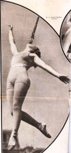 "A photo of Charlotte Shive appeared in an article about the circus in the May 23, 1931 issue of ""Colliers"" magazine. This is known in the circus as an Iron Jaw Act. It's what Leitzel called a ""tooth act."" The circus was a common theme for articles in popular magazines of the day."