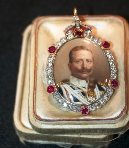 This tiny box, with a portrait of Kaiser Wilhelm painted on the front and edged in diamonds and rubies, was, according to the dealer, a gift from the Kaiser to his daughter.