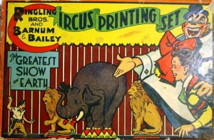 This Circus Printing Set uses both the names Ringling Bros. and Barnum & Bailey and The Greatest Show On Earth. Printed on the side of the box is Stamper Kraft Set No. 4650, copyrighted by T.S.T. Co. Inside the box are papers with circus scenes.
