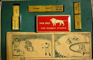 The various rubber stamps can be used to print images in the scenes. This set is complete with a stamp for a tiger, a pigmy elephant, a trainer, a clown, a clown car, a tight rope act and a lion. These sets have sold on the internet for as much as $95.
