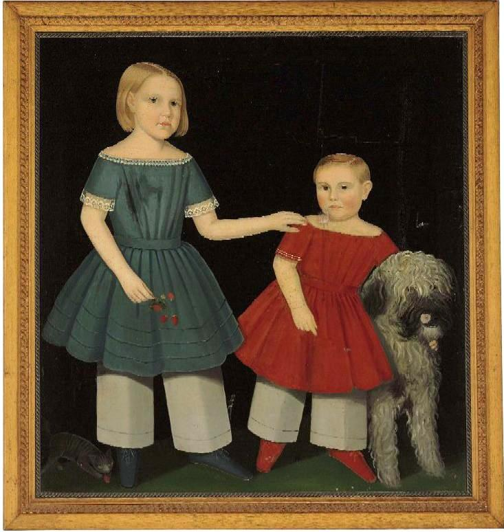 "A rare, full-length double portrait of ""Theron Simpson Ludington (1850-1922) and His Older Sister Virginia Ludington (1846-1865)"" by the prominent 19th century American portrait artist Ammi Phillips, will be sold at auction at Christie's Americana Week 2010."