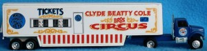 Ertl produced four semi-trailers with the Clyde Beatty Cole Bros. Circus name. Two are shown here—a side show banner truck and a ticket truck.