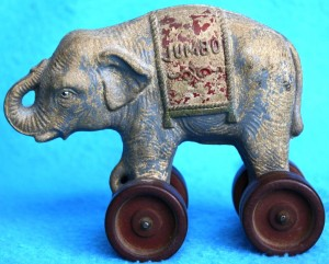 This children's composition pull-toy is just one of the many products created to take advantage of Barnum's famous attraction, Jumbo. Value of this toy is about $50. A similar toy is also a bank and sells for $15-30. It's interesting that these toys depict an Asian elephant. Jumbo was an African elephant.