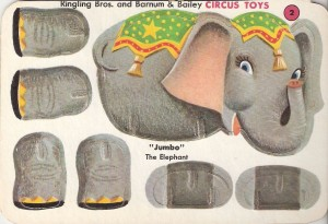 In the 1950s, the Post Toasties cereal company offered Ringling Bros. and Barnum & Bailey Circus toys as premiums in their cereal boxes. There were a total of 15 different numbered toys: #1 Jo Jo the Clown, #2 Jumbo the Elephant (shown here), #3 Rajah the Tiger, #4 Strong Man, #5 – Kangaroo, #6 Giraffe, #7 Monkey & Pig, #8 Emmett Kelly (shown here), #9 Molly the Bare-Back Rider, #10 Seal, #11 Ringmaster, #12 Dog and Duck, #13 Horse, #14 Bear, #15 Leo the Lion.