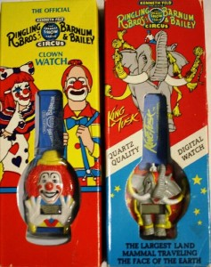 Ringling Bros. and Barnum & Bailey came up with these watches as promotional items. In some markets, the watches were given away free on certain nights with the purchase of a ticket. On the internet you can find them for as little as $1.