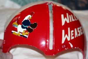 Lang's helmet visor.