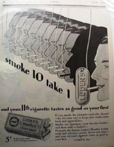 1928 Luden's Cough Drop/Smoking Drops advertisement.