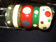 Original Bakelite bangles with newly added Bakelite polka dots.