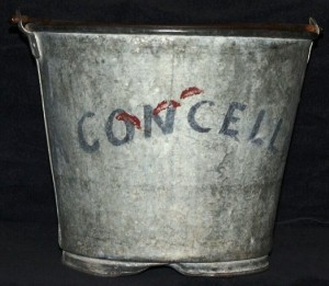 Two buckets of water were delivered to each performer in the dressing tent. This bucket was used by Art Concello when he was head of the Flying Concellos. Performer buckets have sold in the past for $25-$50, but because Art Concello was so well known, both as a performer and circus executive, this one would probably bring $100 or more.