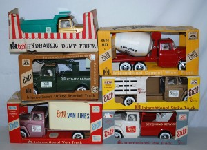 Selection of some of the Ertl toy trucks to be sold; all are like-new and still in the box.