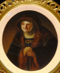 "The top lot of the sale of the lifetime personal collections of Elizabeth and the late Clarence Lee Dubois of Arkansas was this outstanding marked KPM oval porcelain plaque, titled ""Rembrandt's Mother,"" which gaveled for $7,250."