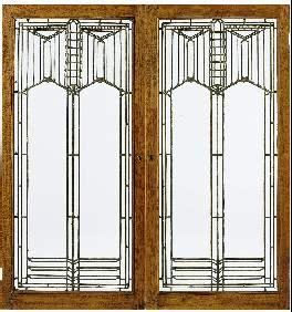 Frank Lloyd Wright designed this pair of elegant leaded glass windows for the B. Harley Bradley House, Kankakee, Ill., circa 1900.
