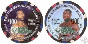 MGM Grand Las Vegas Bruno vs. Tyson $100 chip, front and back, from the March 16, 1996 fight between Tyson and Bruno.