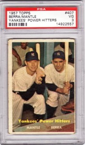 Topps 1957 Mantle and Berra baseball card.
