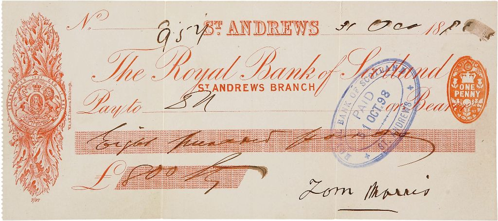 "An ""Old"" Tom Morris signed check."