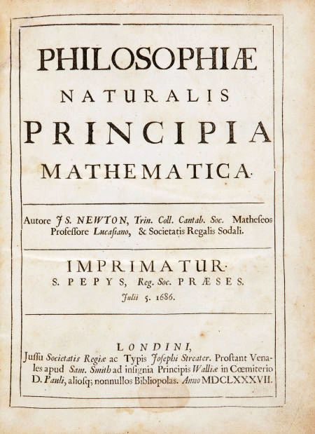 """Sir Isaac Newton's most famous and important work, """"Philosophiæ naturalis principia mathematica,"""" is among the rare books to be sold by Heritage Auctions on Feb. 11, 2010."""