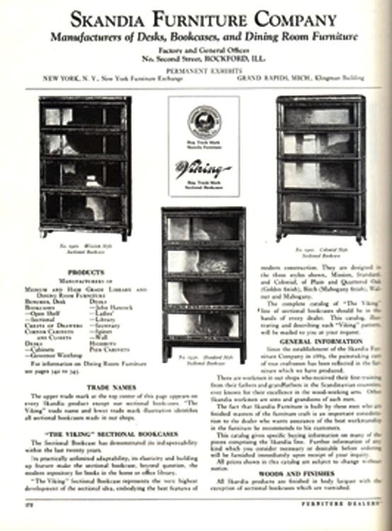 "This page from ""American Manufactured Furniture"" by Don Fredgant Schiffer, shows the various 1929 models of the Skandia Viking elastic bookcase. The book is a compilation of manufacturer's promotional material to retailers for the model year 1929."