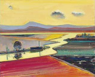 "Wayne Thiebaud's ""Valley River"" is a vibrant painting that features the flat, fertile farmland of the Sacramento River valley."