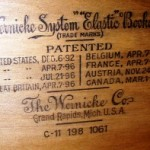 This stamped label started it all. This original Wernicke label shows the earliest patent date of 1892.
