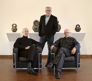 Mark Del Vecchio, Wes Cowan (center) and Garth Clark have announced a partnership to bring modern and contemporary ceramics to the international art market through focused, selective and scholarly semi-annual auctions.