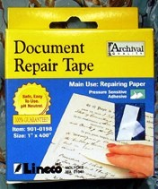 Archival-quality document repair tape is made from acid-free tissue that is very thin, yet very strong.