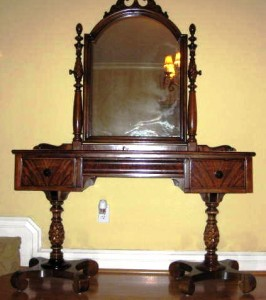 This Colonial Revival vanity made by Berkey & Gay of Grand Rapids in the early 1930s incorporates a number of older styles including Late Classicism, Empire, Federal and Rococo Revival.