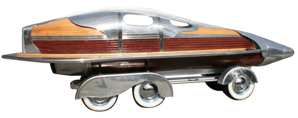 "A boat-car sculpture, titled ""Bonneville,"" was developed for fictional character Jack Wolf."