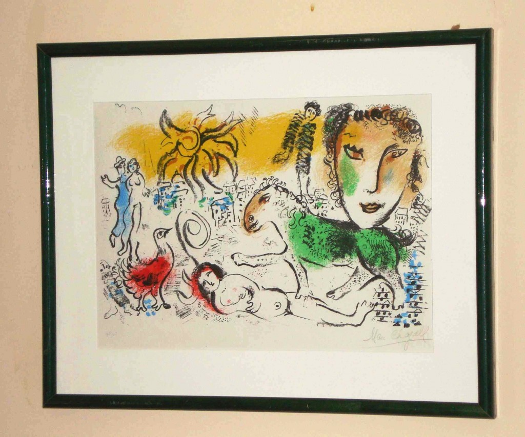 Lithograph signed in pencil, lower right, by the artist Marc Chagall, are among the 30 prints that will be up for auction in Gordon S. Converse & Co.'s Discovery Antique Auction on Thursday, Mar. 25, 2010.