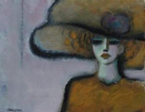 """Femme au chapeau"""" by Jean-Pierre Cassigneul."""